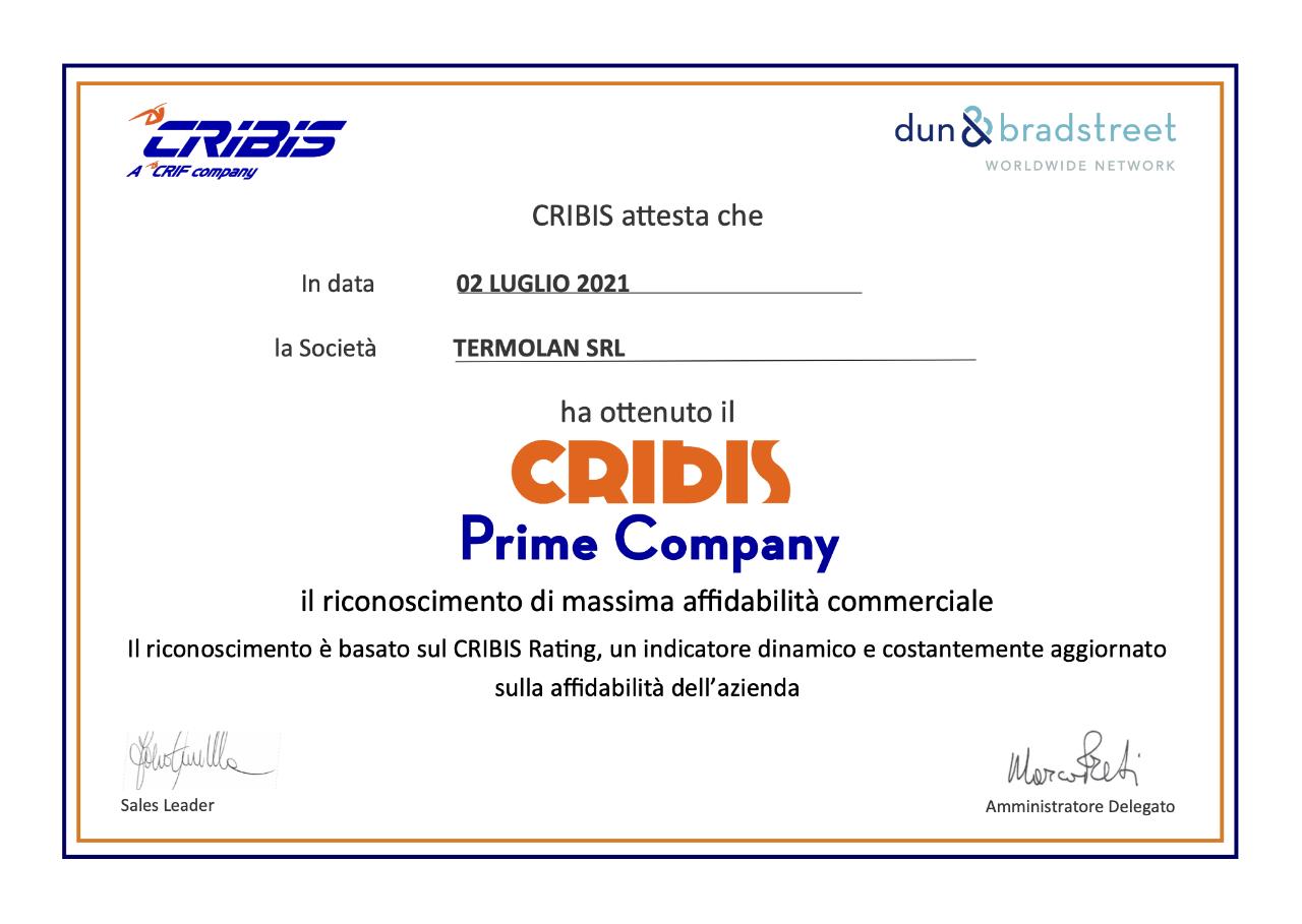 Certificato CRIBIS Termolan